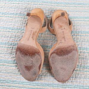 Manolo Blahnik Shoes - Manolo Blahnik Beige Tan Nude Suede Slingback Heel